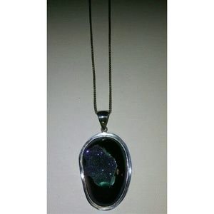 Peacock Drusy Quartz set in .925 silver necklace